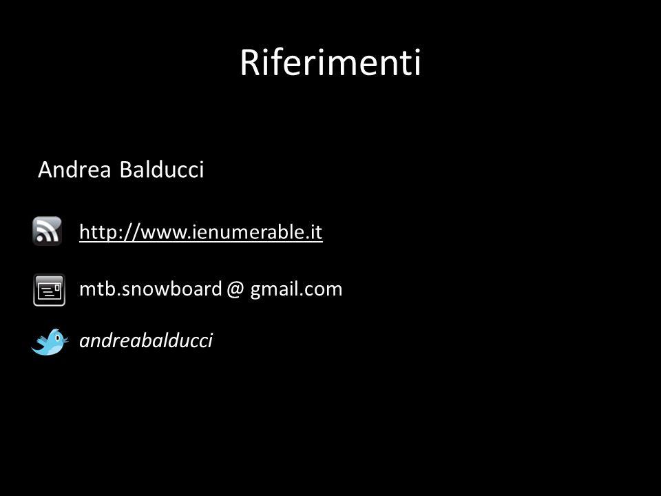 Andrea Balducci mtb.snowboard @ gmail.com http://www.ienumerable.it Riferimenti andreabalducci