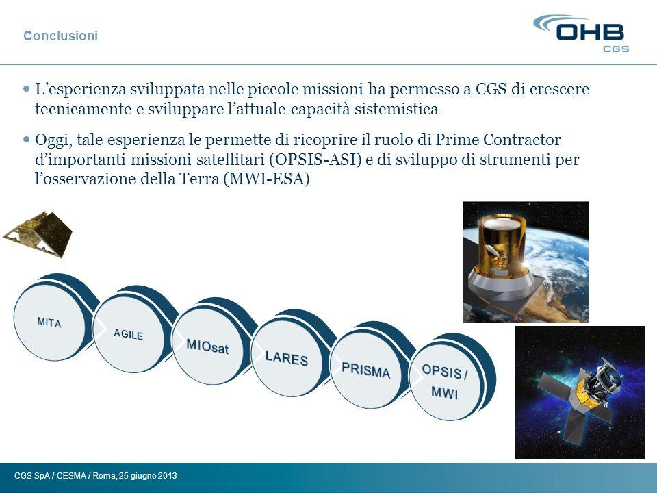 CGS SpA / CESMA / Roma, 25 giugno 2013 Conclusioni Lesperienza sviluppata nelle piccole missioni ha permesso a CGS di crescere tecnicamente e sviluppa