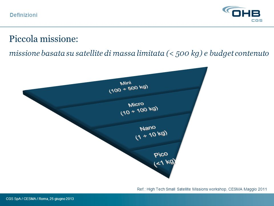 CGS SpA / CESMA / Roma, 25 giugno 2013 Definizioni Ref.: High Tech Small Satellite Missions workshop, CESMA Maggio 2011 Piccola missione: missione bas