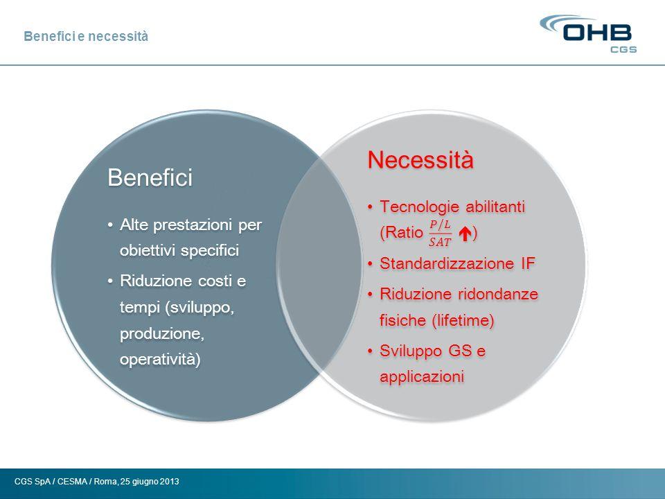 CGS SpA / CESMA / Roma, 25 giugno 2013 Benefici e necessità Benefici Alte prestazioni per obiettivi specifici Riduzione costi e tempi (sviluppo, produ