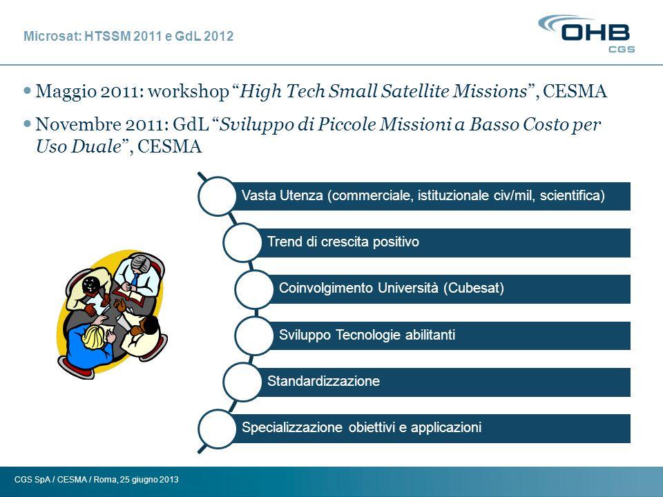 CGS SpA / CESMA / Roma, 25 giugno 2013 Microsat: HTSSM 2011 e GdL 2012 Maggio 2011: workshop High Tech Small Satellite Missions, CESMA Novembre 2011: