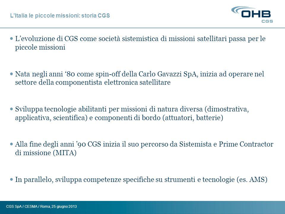 CGS SpA / CESMA / Roma, 25 giugno 2013 Roadmap CGS Piccoli Satelliti (500-1500 Kg) OPSIS (1000 Kg) In sviluppo PRISMA (750 Kg) In sviluppo SAR Lupe (750 Kg) 12/06 – 07-11/07 – 03/08 – 07/08 EGPM (620 Kg) Fase A completata SAR Lupe Mini-satelliti (150-500 Kg) LARES (400 Kg) Lancio 2012 AGILE (350 Kg) Lancio 4/23/2007 MITA (170 Kg) Lancio 7/15/00 AGILE Micro-satelliti (10-150 Kg) MIOSAT (120 Kg) Sviluppo ESEO (85 Kg) Sviluppo SAFIR 1-2 (65 Kg) Lancio 1994/1998 RUBIN Class (30 Kg) Lancio Rubin 1 and 2 -- Remote Sensing SAR -- Remote Sensing Optical -- Scientific -- Technology Demonstration LARES MWI In sviluppo AMS (Lancio 2011) Tecnologie