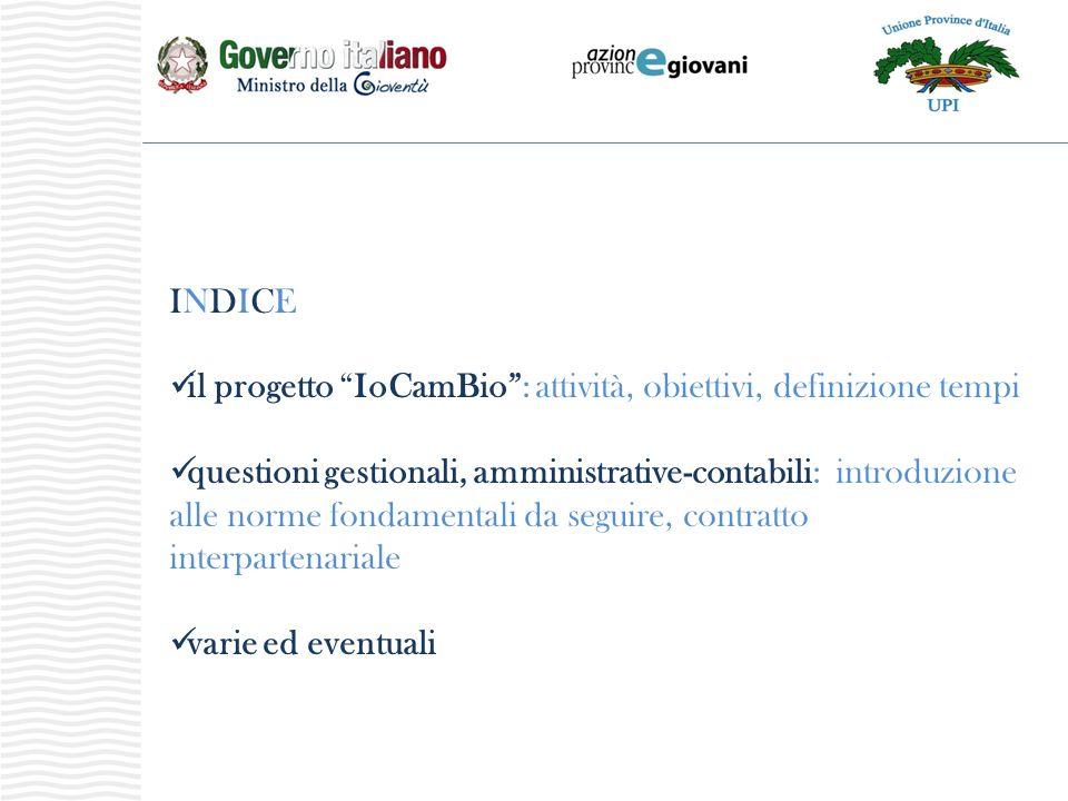 INDICEINDICE il progetto IoCamBio: attività, obiettivi, definizione tempi questioni gestionali, amministrative-contabili: introduzione alle norme fondamentali da seguire, contratto interpartenariale varie ed eventuali