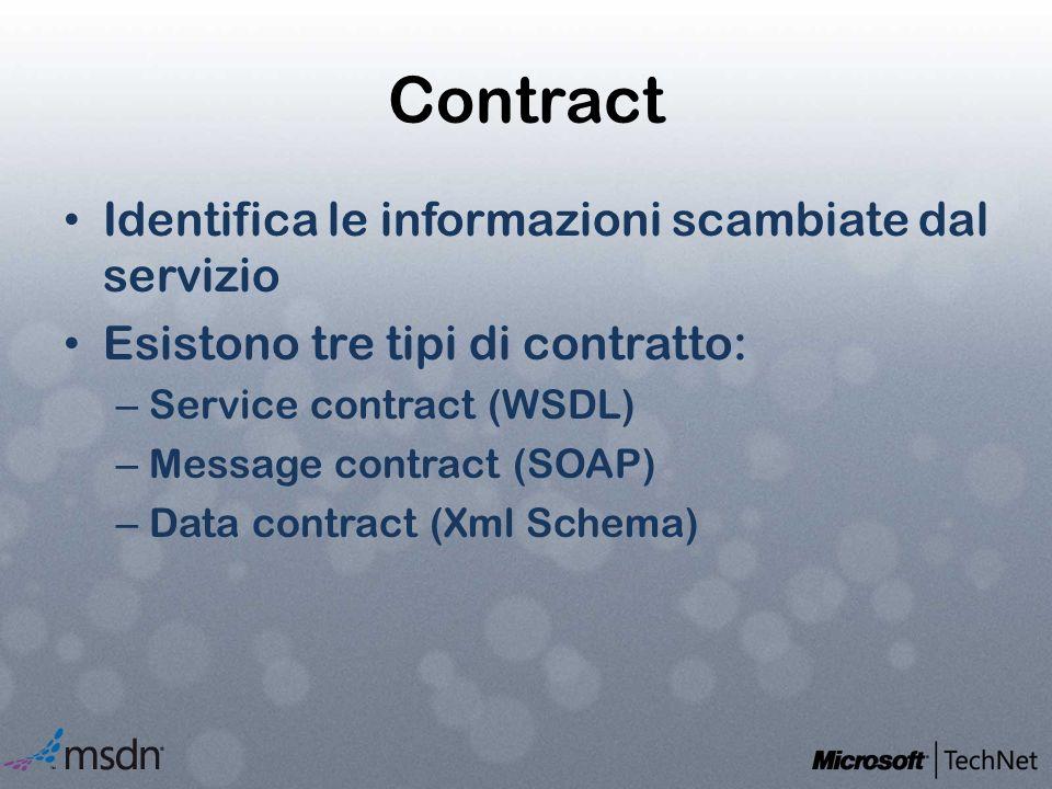 Contract Identifica le informazioni scambiate dal servizio Esistono tre tipi di contratto: – Service contract (WSDL) – Message contract (SOAP) – Data