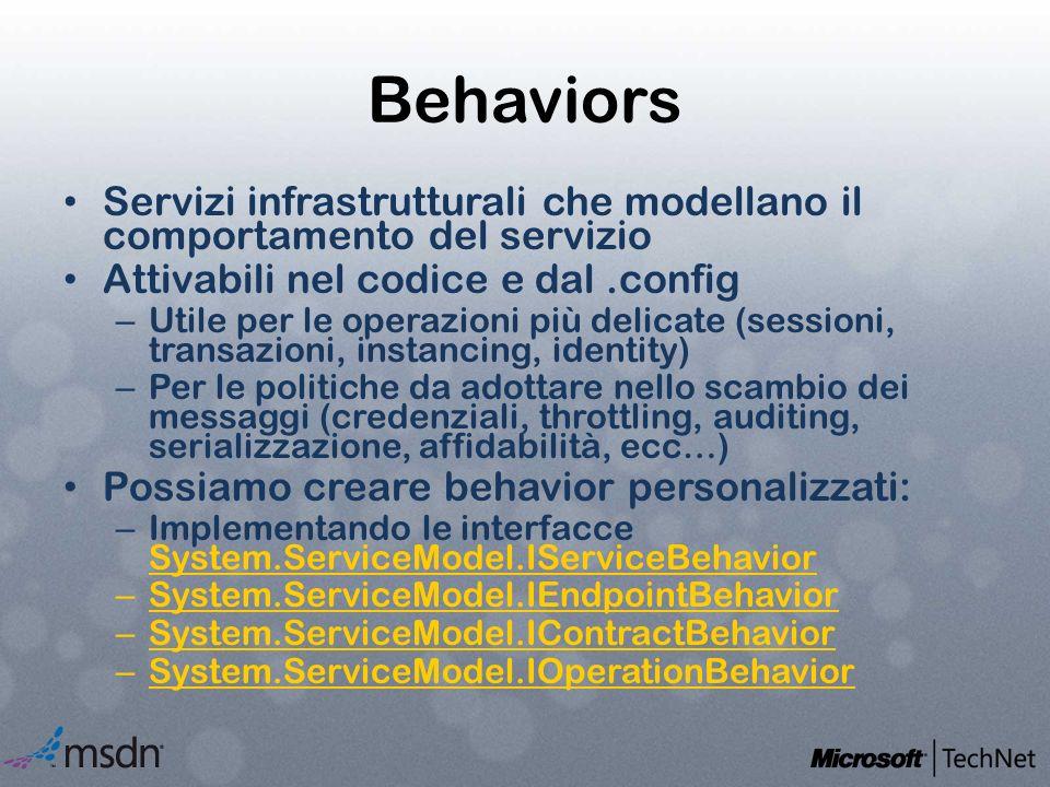 Behaviors Servizi infrastrutturali che modellano il comportamento del servizio Attivabili nel codice e dal.config – Utile per le operazioni più delica