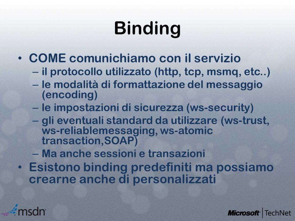 Binding COME comunichiamo con il servizio – il protocollo utilizzato (http, tcp, msmq, etc..) – le modalità di formattazione del messaggio (encoding)