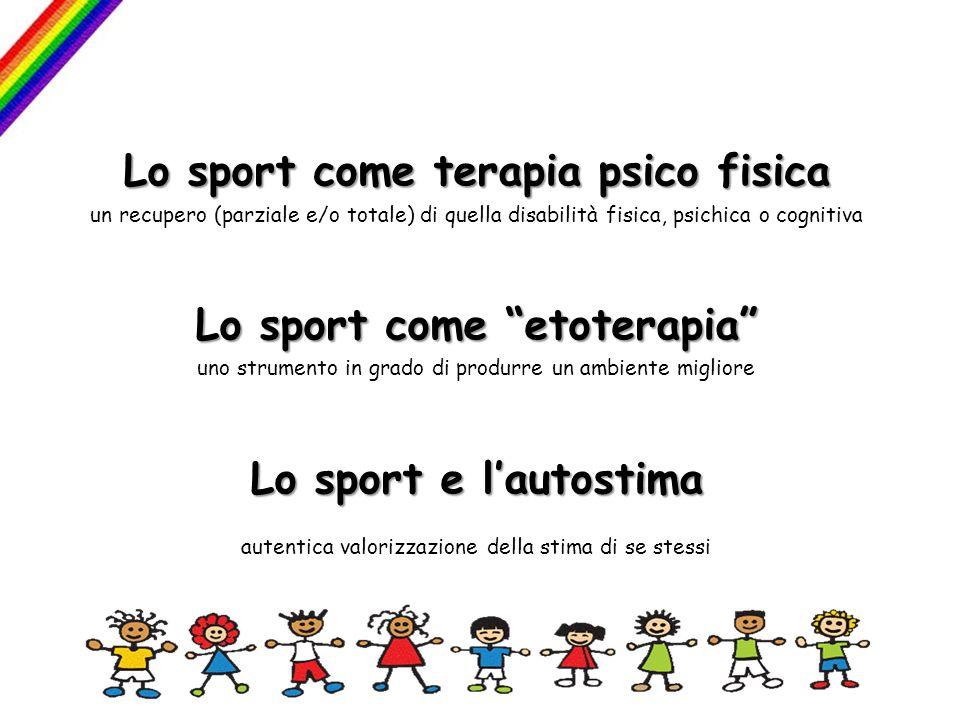 Lo sport come terapia psico fisica un recupero (parziale e/o totale) di quella disabilità fisica, psichica o cognitiva Lo sport come etoterapia uno st
