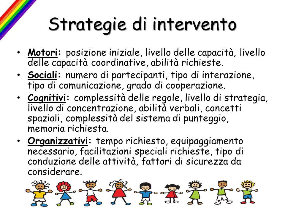 Strategie di intervento Motori: posizione iniziale, livello delle capacità, livello delle capacità coordinative, abilità richieste. Sociali: numero di
