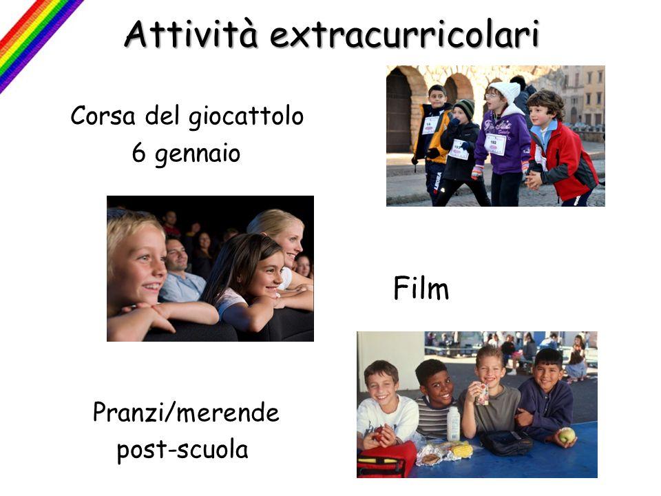 Attività extracurricolari Corsa del giocattolo 6 gennaio Film Pranzi/merende post-scuola