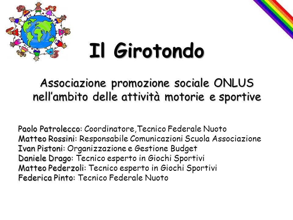 Il Girotondo Associazione promozione sociale ONLUS nellambito delle attività motorie e sportive Paolo Patrolecco Matteo Rossini Ivan Pistoni Daniele D