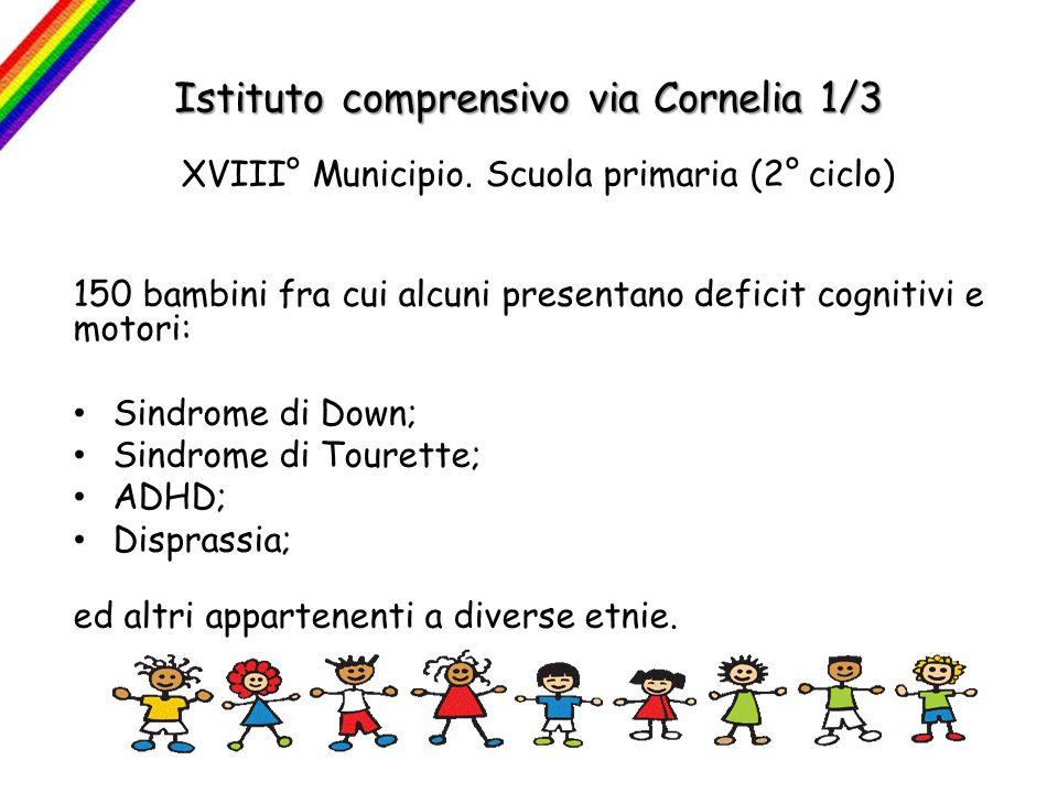 Istituto comprensivo via Cornelia 1/3 XVIII° Municipio. Scuola primaria (2° ciclo) 150 bambini fra cui alcuni presentano deficit cognitivi e motori: S