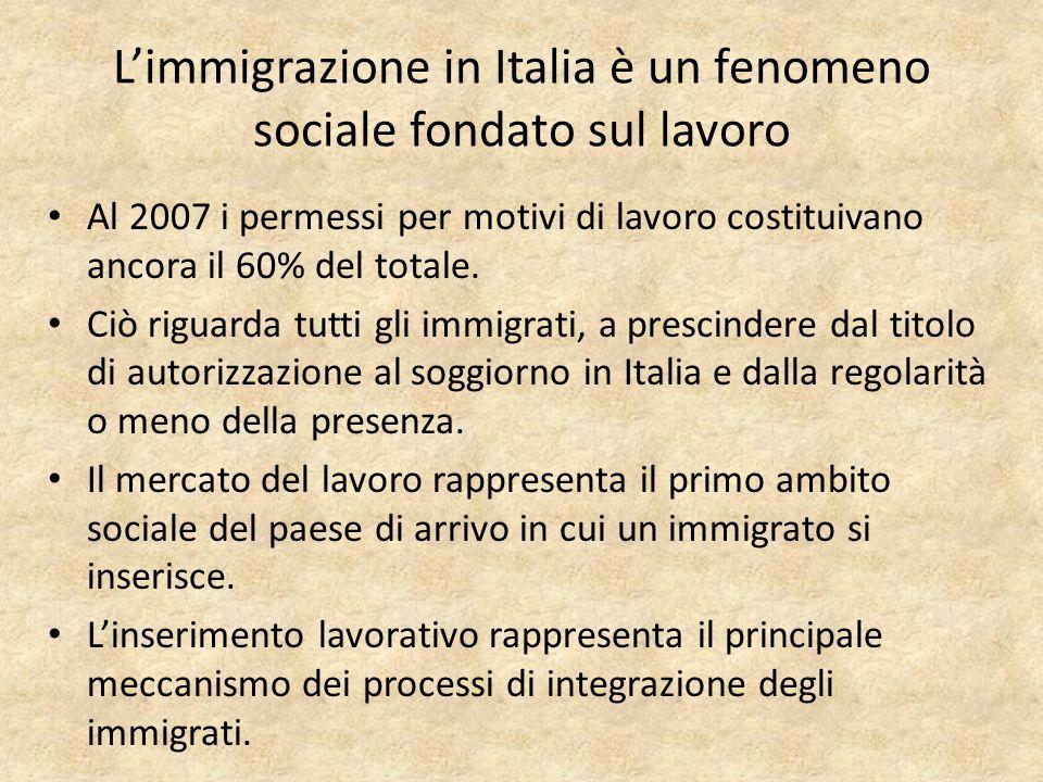 Limmigrazione in Italia è un fenomeno sociale fondato sul lavoro Al 2007 i permessi per motivi di lavoro costituivano ancora il 60% del totale.