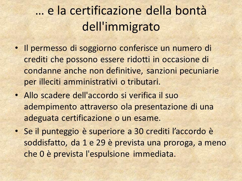 … e la certificazione della bontà dell immigrato Il permesso di soggiorno conferisce un numero di crediti che possono essere ridotti in occasione di condanne anche non definitive, sanzioni pecuniarie per illeciti amministrativi o tributari.
