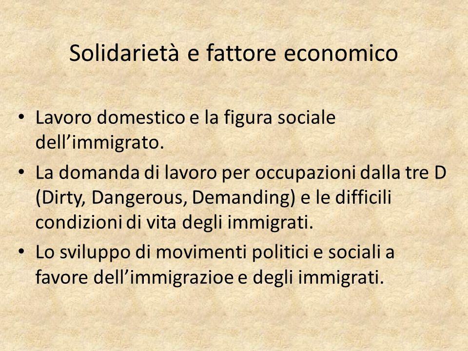 Solidarietà e fattore economico Lavoro domestico e la figura sociale dellimmigrato.