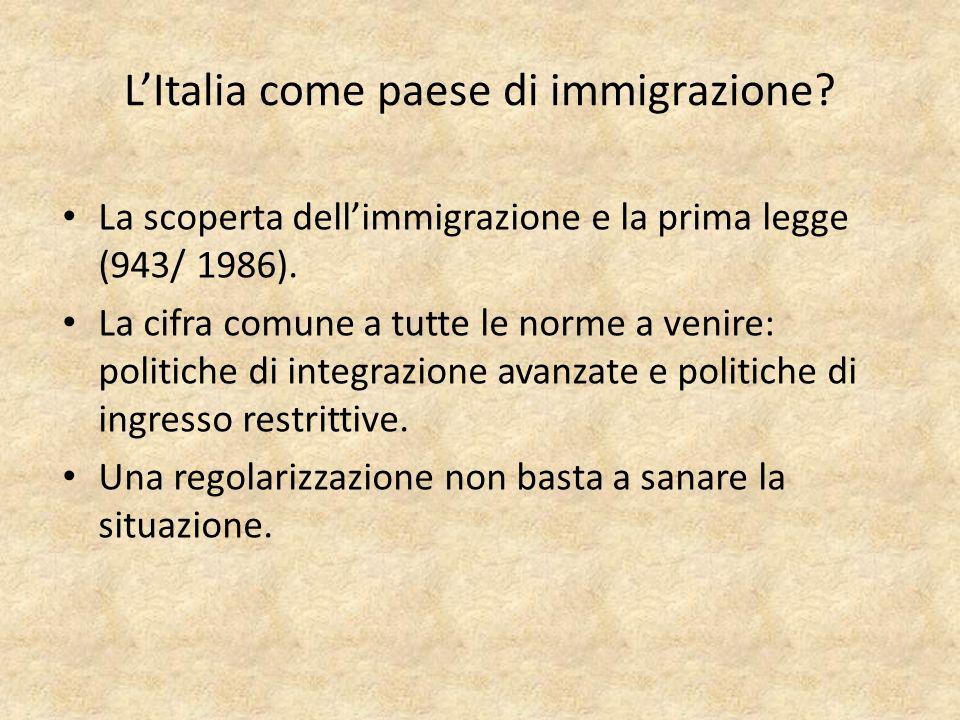 LItalia come paese di immigrazione. La scoperta dellimmigrazione e la prima legge (943/ 1986).