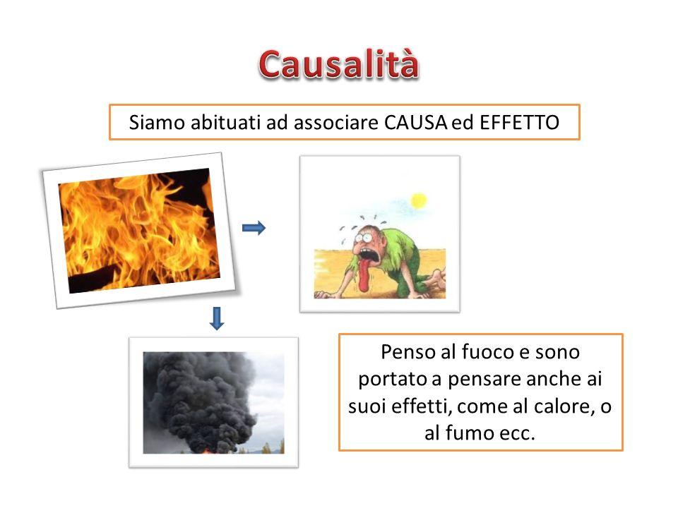 Siamo abituati ad associare CAUSA ed EFFETTO Penso al fuoco e sono portato a pensare anche ai suoi effetti, come al calore, o al fumo ecc.
