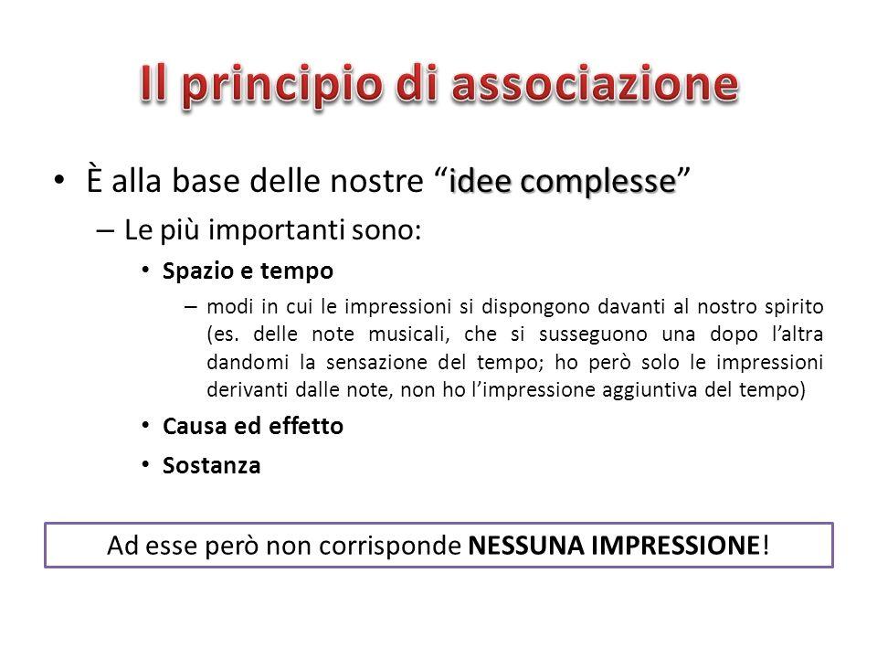idee complesse È alla base delle nostre idee complesse – Le più importanti sono: Spazio e tempo – modi in cui le impressioni si dispongono davanti al