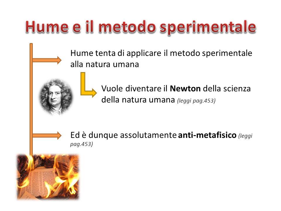 Hume tenta di applicare il metodo sperimentale alla natura umana Vuole diventare il Newton della scienza della natura umana (leggi pag.453) Ed è dunqu