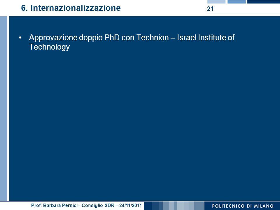 Prof. Barbara Pernici - Consiglio SDR – 24/11/2011 6.