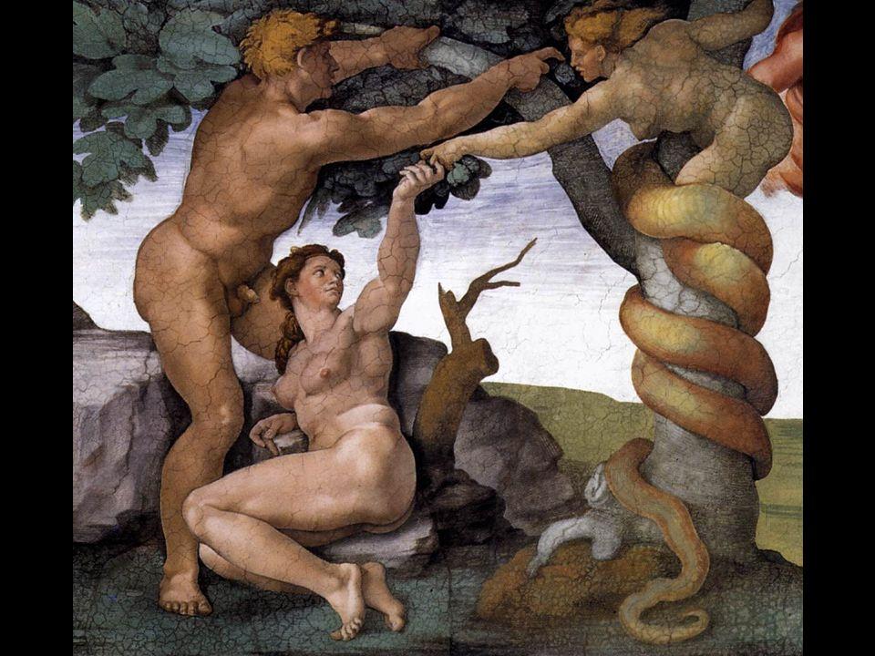 Adamo oscura Eva, il cui corpo appare in ombra rispetto a quello di Adamo.