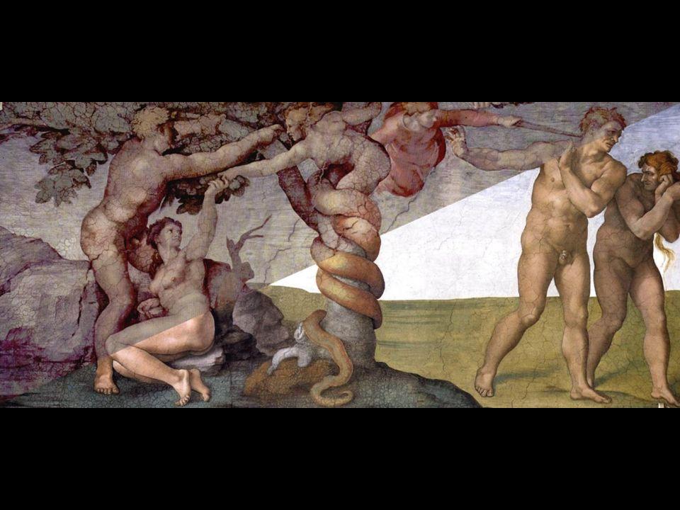 La scena, dipinta in tredici giornate, è ridotta allessenzialità essendo occupata a tutta altezza dalle grandi figure di Adamo ed Eva, del serpente, e dal cherubino.