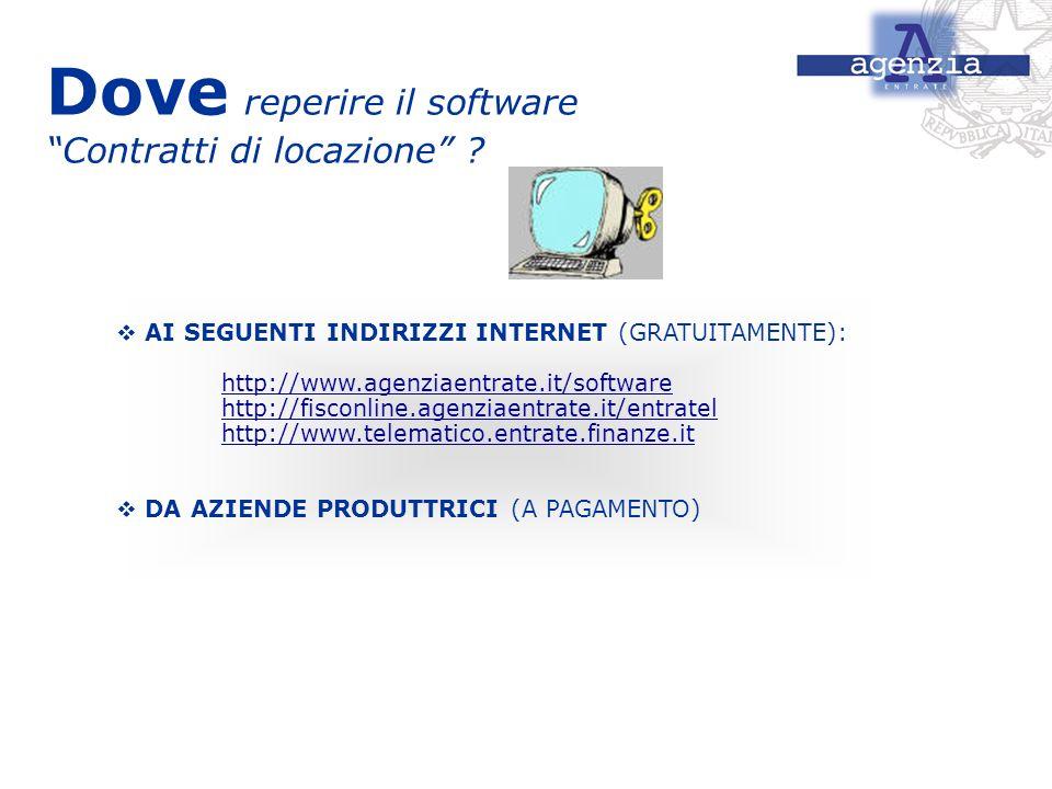 Dove reperire il software Contratti di locazione ? AI SEGUENTI INDIRIZZI INTERNET (GRATUITAMENTE): http://www.agenziaentrate.it/software http://fiscon
