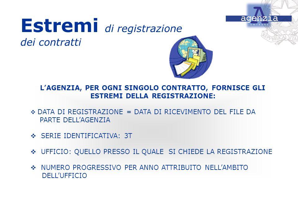 Estremi di registrazione dei contratti LAGENZIA, PER OGNI SINGOLO CONTRATTO, FORNISCE GLI ESTREMI DELLA REGISTRAZIONE: DATA DI REGISTRAZIONE = DATA DI