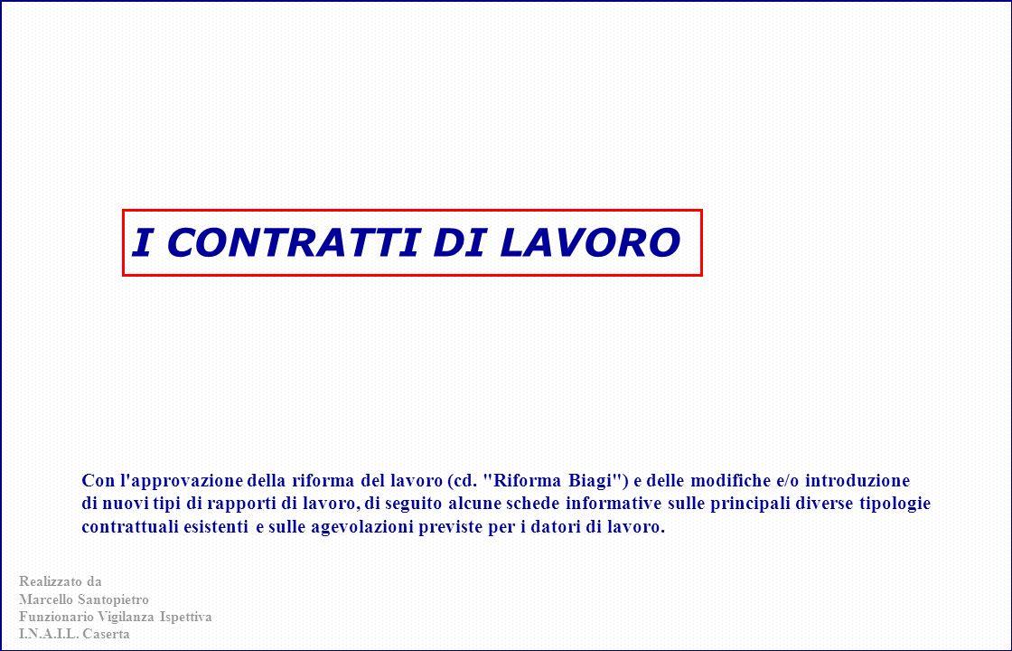 le tipologie Contratto a termine Contratto di Inserimento (sostituisce il C.F.L.) Il lavoro Ripartito (Job Sharing) ex art.