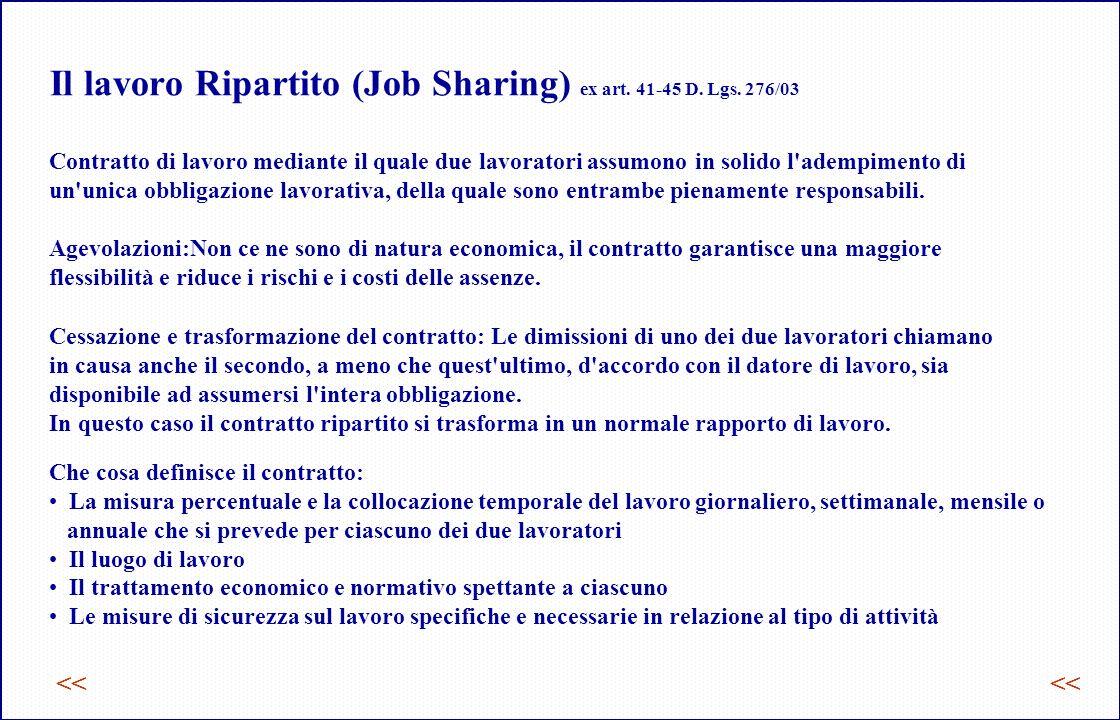 Il lavoro Ripartito (Job Sharing) ex art.41-45 D.