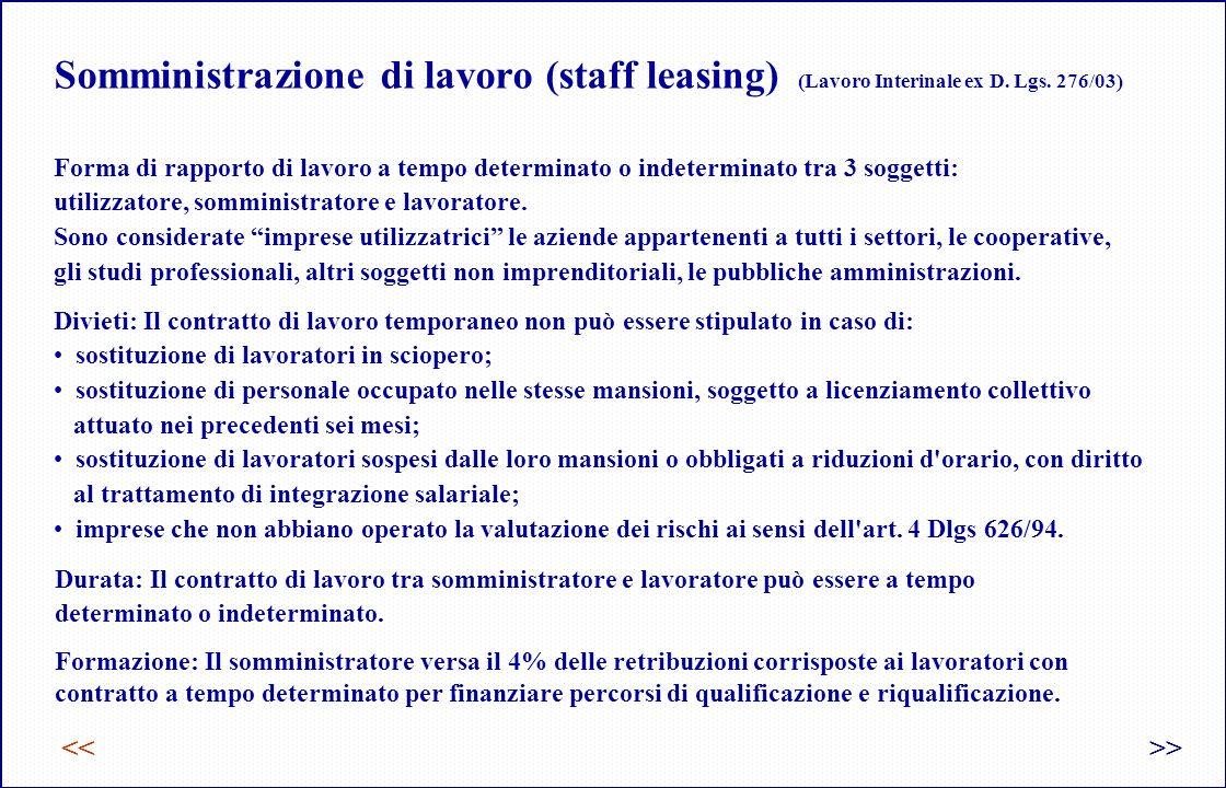 Somministrazione di lavoro (staff leasing) (Lavoro Interinale ex D.