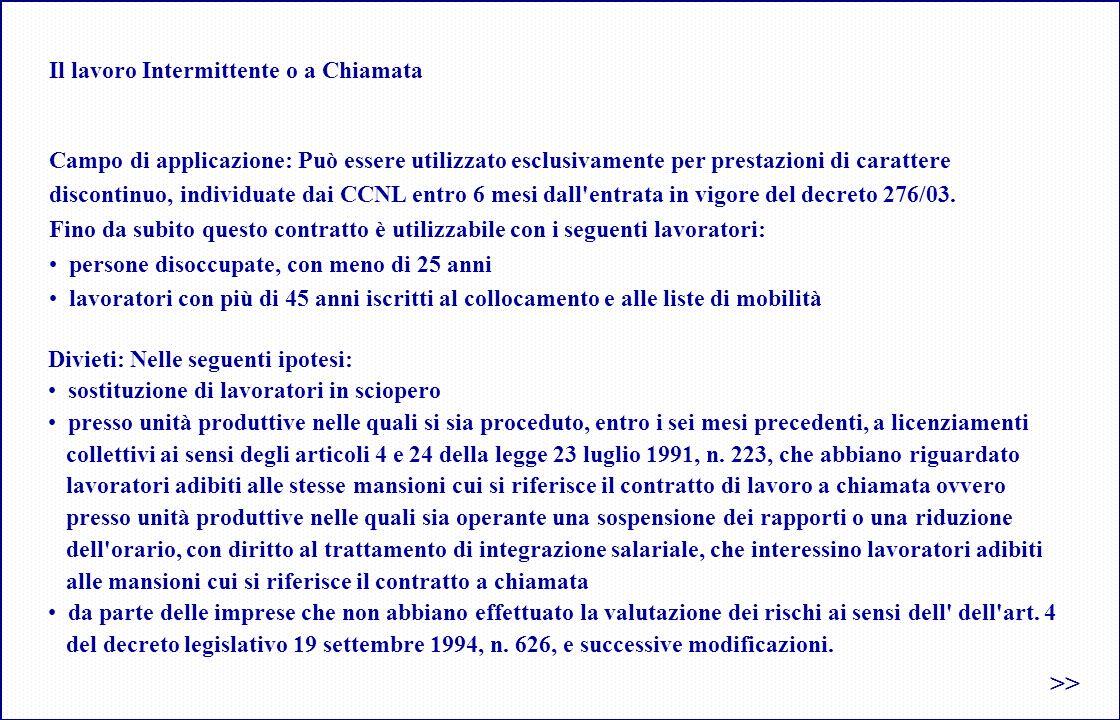 Il lavoro Intermittente o a Chiamata Campo di applicazione: Può essere utilizzato esclusivamente per prestazioni di carattere discontinuo, individuate dai CCNL entro 6 mesi dall entrata in vigore del decreto 276/03.