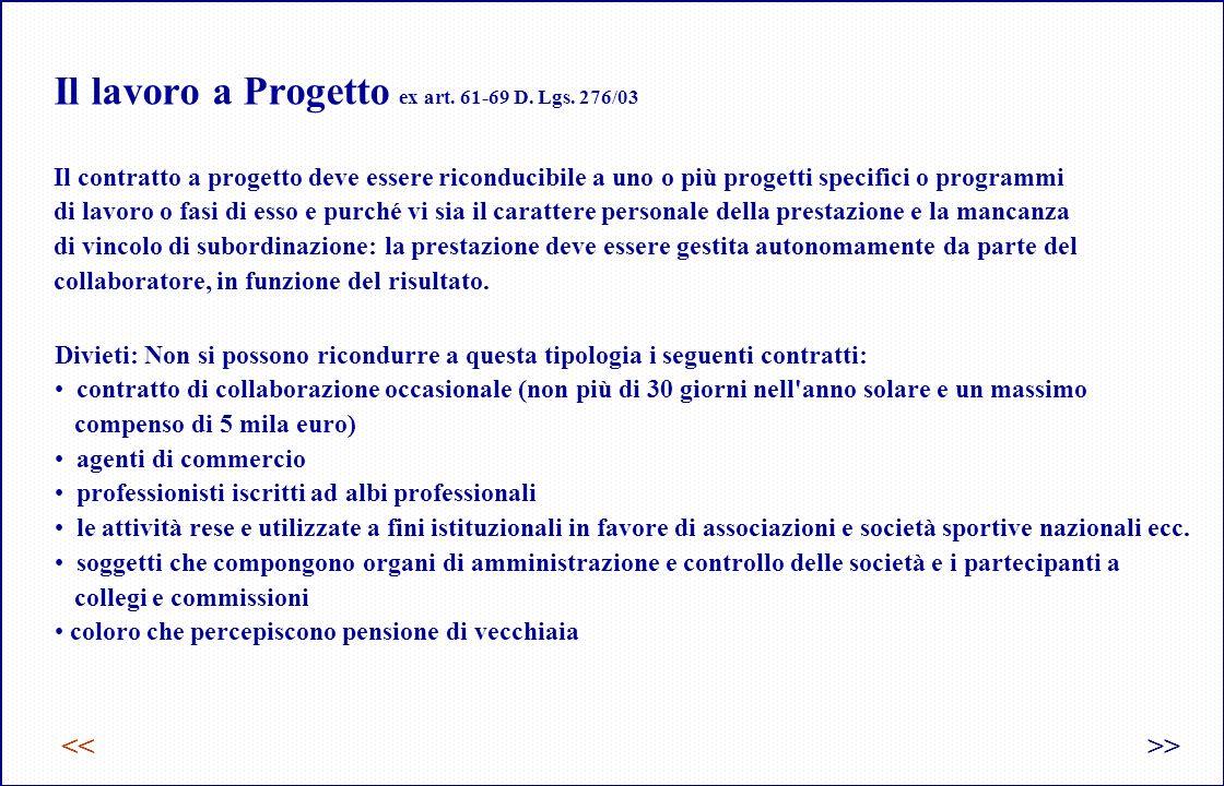 Il lavoro a Progetto ex art.61-69 D. Lgs.