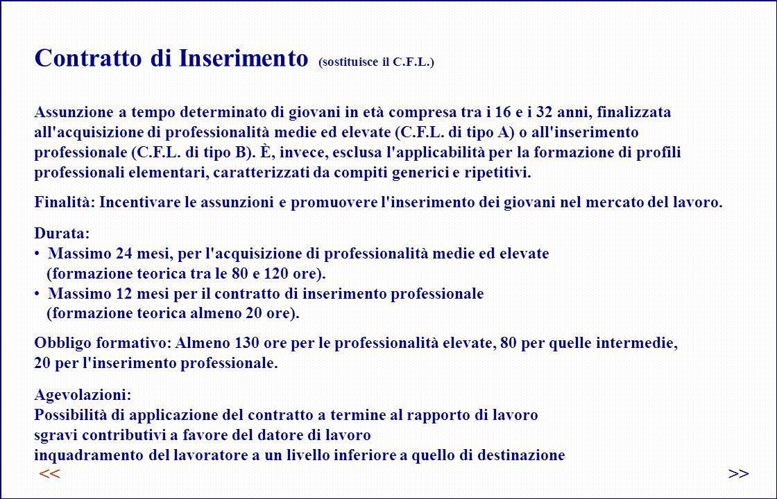 Contratto di Inserimento (sostituisce il C.F.L.) << Assunzione a tempo determinato di giovani in età compresa tra i 16 e i 32 anni, finalizzata all acquisizione di professionalità medie ed elevate (C.F.L.
