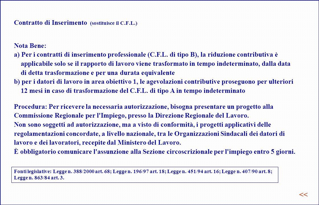 Contratto di Inserimento (sostituisce il C.F.L.) Nota Bene: a) Per i contratti di inserimento professionale (C.F.L.