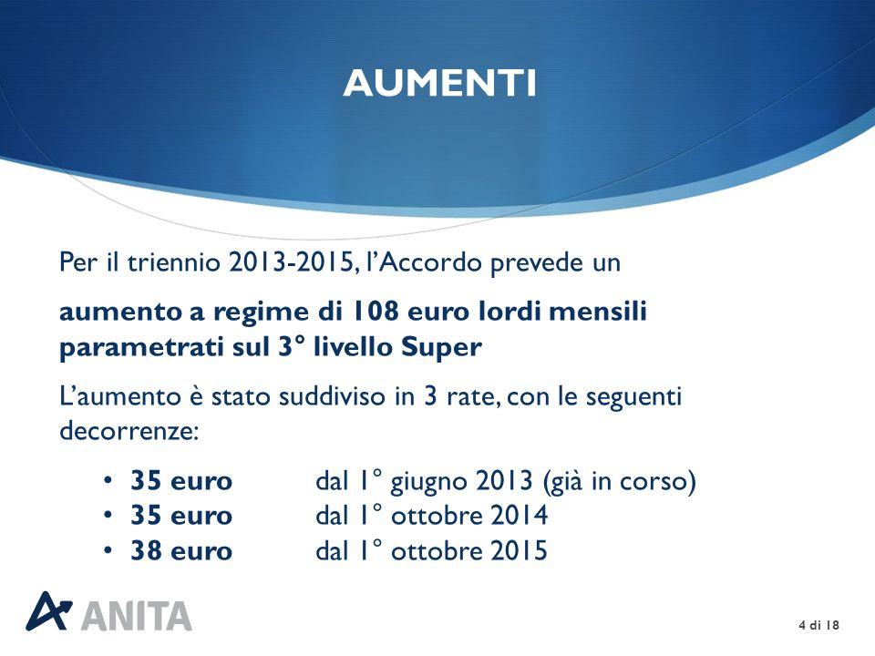 UNA TANTUM 5 di 18 A copertura del periodo 1° gennaio – 31 maggio 2013, ai lavoratori in servizio al 1° agosto 2013 dovrà essere corrisposta una somma una tantum, uguale per tutti, di 88 euro lordi Tale somma dovrà essere erogata in due rate uguali di 44 euro ciascuna, di cui la 1 a con la retribuzione di novembre 2013 e la 2 a con la retribuzione di febbraio 2014 dovrà essere proporzionalmente ridotta per i lavoratori part-time e per quelli assunti dal 1° gennaio 2013 non dovrà essere considerata ai fini del calcolo del Tfr e dei vari istituti contrattuali