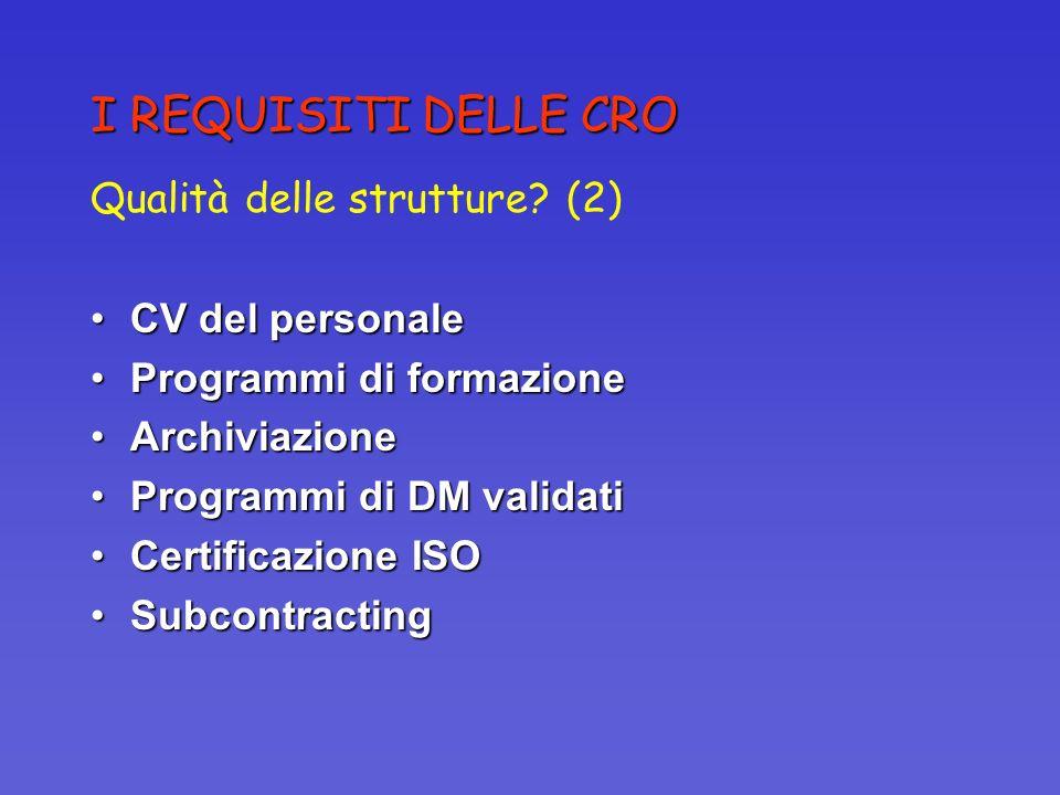 I REQUISITI DELLE CRO Qualità delle strutture? (2) CV del personaleCV del personale Programmi di formazioneProgrammi di formazione ArchiviazioneArchiv