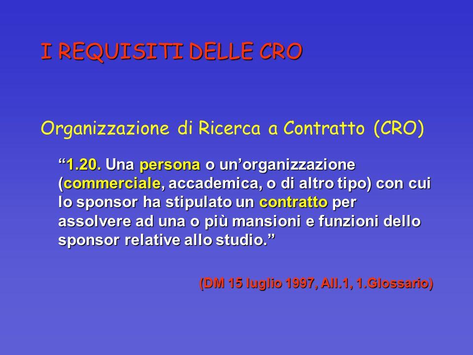 I REQUISITI DELLE CRO Organizzazione di Ricerca a Contratto (CRO) 1.20. Una persona o unorganizzazione (commerciale, accademica, o di altro tipo) con