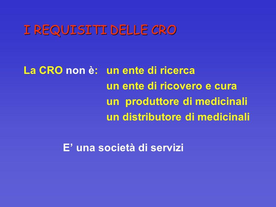 I REQUISITI DELLE CRO La CRO non è:un ente di ricerca un ente di ricovero e cura un produttore di medicinali un distributore di medicinali E una socie