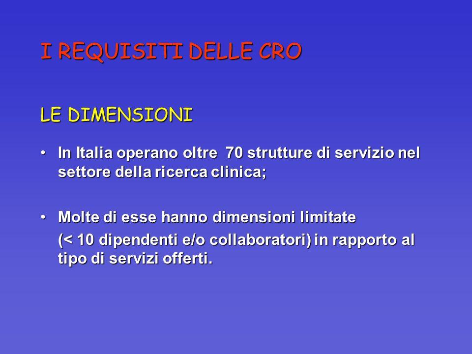I REQUISITI DELLE CRO LE DIMENSIONI In Italia operano oltre 70 strutture di servizio nel settore della ricerca clinica;In Italia operano oltre 70 stru