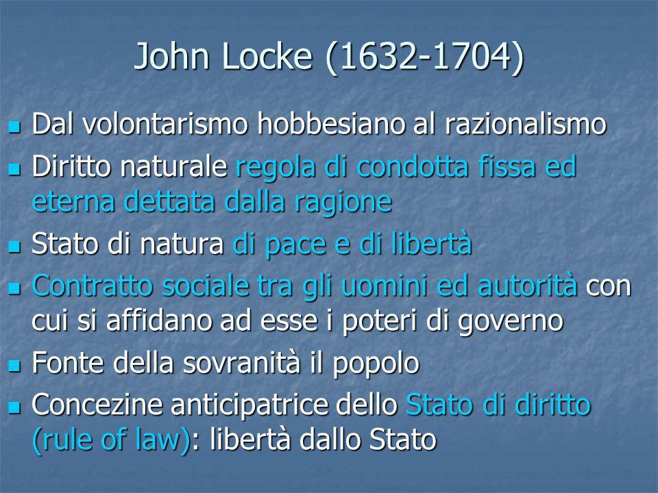 John Locke (1632-1704) Dal volontarismo hobbesiano al razionalismo Dal volontarismo hobbesiano al razionalismo Diritto naturale regola di condotta fis
