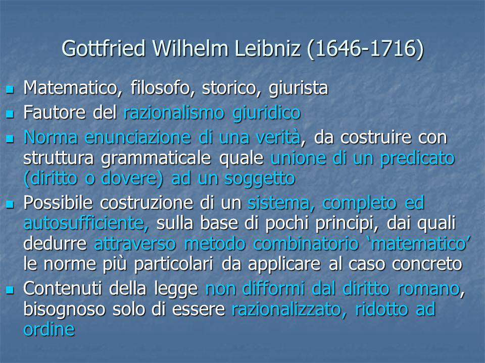 Gottfried Wilhelm Leibniz (1646-1716) Matematico, filosofo, storico, giurista Matematico, filosofo, storico, giurista Fautore del razionalismo giuridi