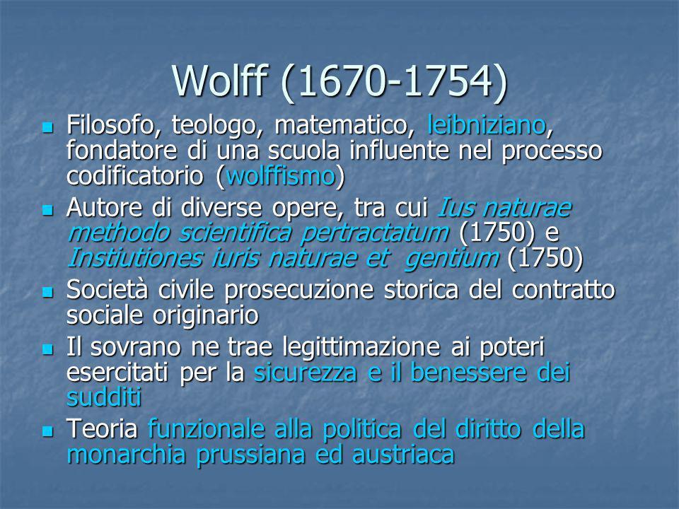 Wolff (1670-1754) Filosofo, teologo, matematico, leibniziano, fondatore di una scuola influente nel processo codificatorio (wolffismo) Filosofo, teolo