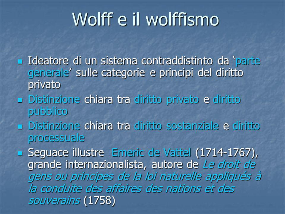 Wolff e il wolffismo Wolff e il wolffismo Ideatore di un sistema contraddistinto da parte generale sulle categorie e principi del diritto privato Idea