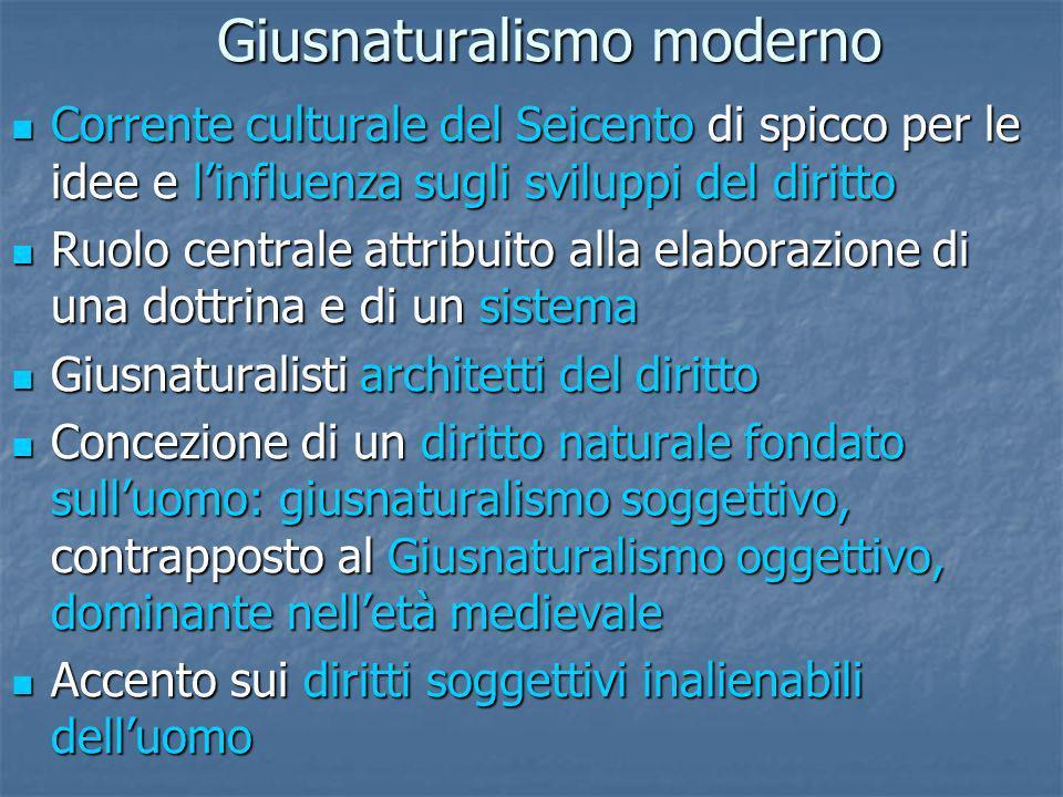 Giusnaturalismo moderno Corrente culturale del Seicento di spicco per le idee e linfluenza sugli sviluppi del diritto Corrente culturale del Seicento
