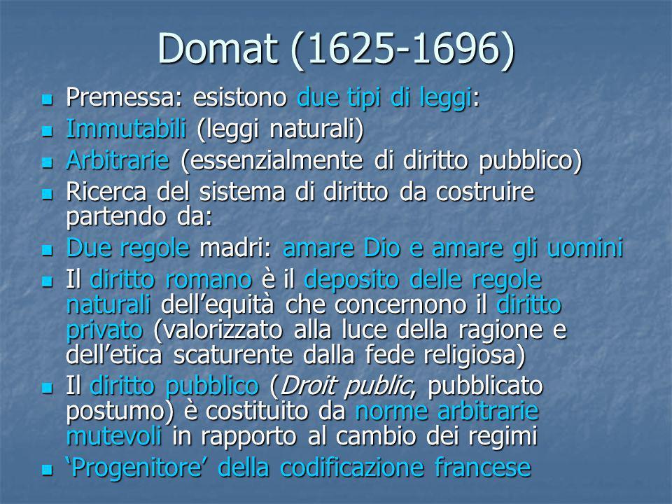 Domat (1625-1696) Premessa: esistono due tipi di leggi: Premessa: esistono due tipi di leggi: Immutabili (leggi naturali) Immutabili (leggi naturali)