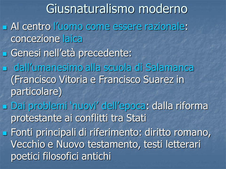Giusnaturalismo moderno Al centro luomo come essere razionale: concezione laica Al centro luomo come essere razionale: concezione laica Genesi nelletà