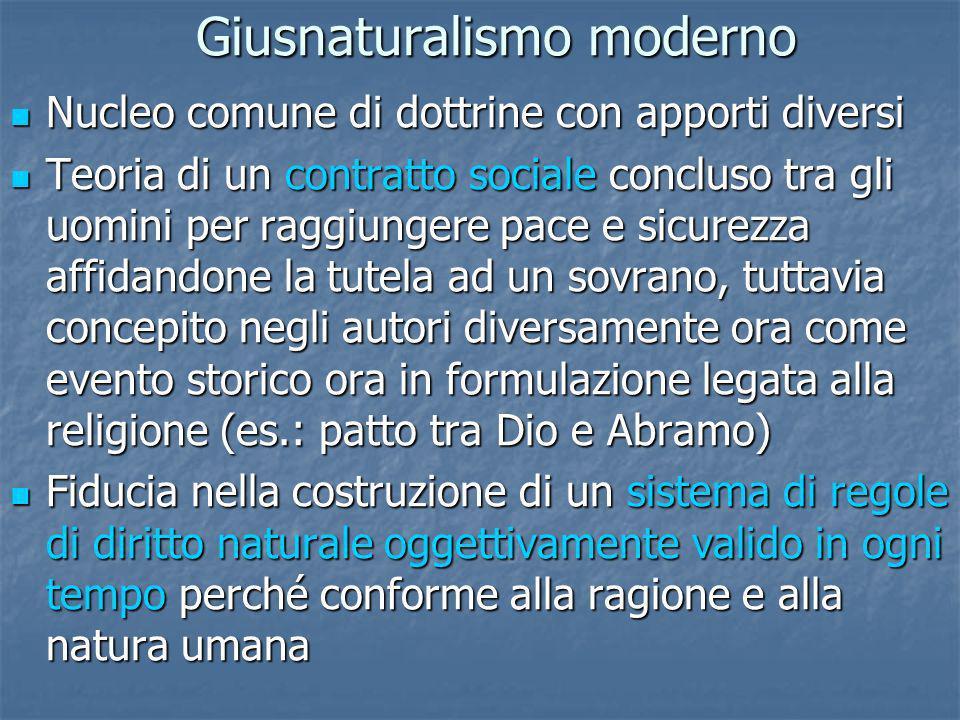 Giusnaturalismo moderno Nucleo comune di dottrine con apporti diversi Nucleo comune di dottrine con apporti diversi Teoria di un contratto sociale con