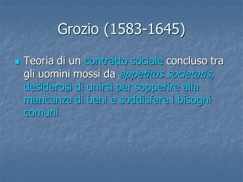 Grozio (1583-1645) Teoria di un contratto sociale concluso tra gli uomini mossi da appetitus societatis, desiderosi di unirsi per sopperire alla manca