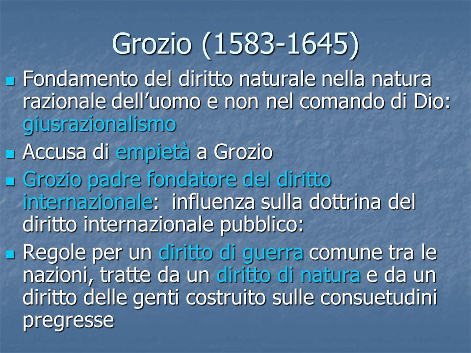 Grozio (1583-1645) Fondamento del diritto naturale nella natura razionale delluomo e non nel comando di Dio: giusrazionalismo Fondamento del diritto n