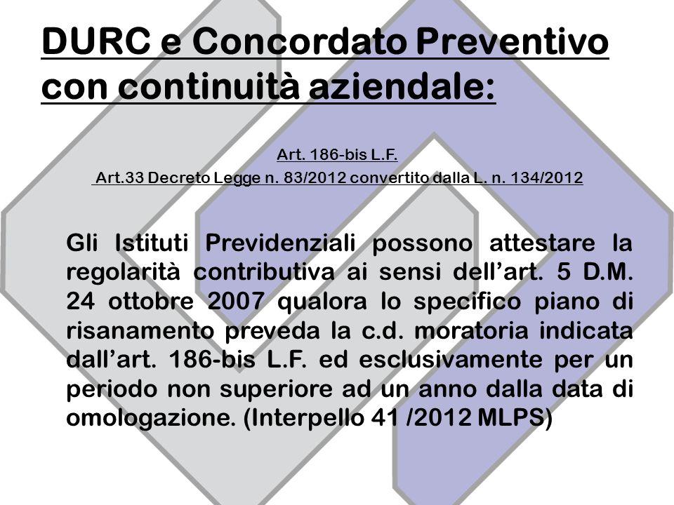 DURC e Concordato Preventivo con continuità aziendale: Art.